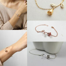 Women Chic Rose Flower Tennis Bracelet Bangle Wedding Chain Wristband Jewelry