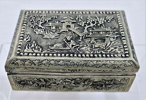 Vintage Embossed Metal Jewelry Box - Asian Landscape Pagoda Bird Floral Motifs