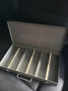 Vintage Brumberger USA Gray Metal 35mm Slide / Coin Storage Case 150 Slots ~ VG