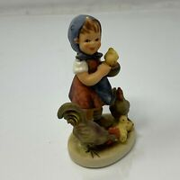 Goebel W.Germany Figurine Feeding Time Little Girl with Rooster Hen and Chicks