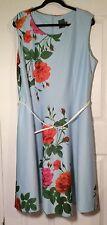 Gabby Skye Women's Plus 18W Dress Belted Sheath Sleeveless  Blue Flowered