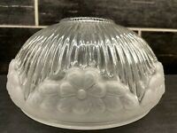"Vtg Frosted Clear Glass Ribbed Floral Ceiling Fan Light Shade Globe 7 5/8"" Fitte"