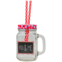 Retro Vintage Mason Drinking Glass Jar With Handle And Red Metal Lid 2 Straws
