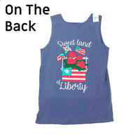 NWT Jane Marie Sweet Land of Liberty Graphic Tank Top Blue