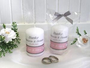"""Gastgeschenk Kerze zur Hochzeit """"Mr & Mrs"""" grau-rosa Größe: 6x4cm Design 402"""