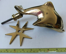 RARE, VINTAGE SOLID BRASS DOLPHIN LARGE DOOR KNOCKER WITH DECORATIVE STAR, GOOD
