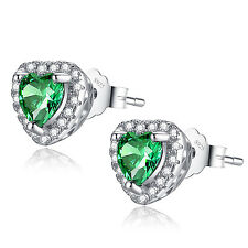 Lovely 1.0Cttw Heart Shaped Created Emerald .925 Sterling Silver Stud Earrings