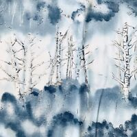 """Trees in Icy Blue Fabric Quilting Sewing Crafts 22 x 44"""""""