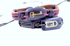 A pair Tibetan yak bone and leather bracelets key and lock love pattern