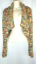 Free People Ladies Multi-Color Wool Blend Chunky Knit Crop Sweater Cardigan Sz L