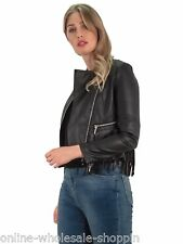 Womens Biker Fringe Lower Zip Pocket Long Sleeve Jacket With Hooded Style Black 16