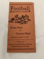 Coca Cola Coke Bottling Co. Football Scorecard 1941 Rome High Vs Central High