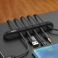 Black Silicone USB Cable Winder Desktop Management Clip Cable Holder Organizer