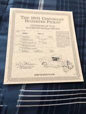 Danbury Mint Title - 1931 Chevrolet Roadster Pickup Truck