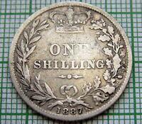 GREAT BRITAIN QUEEN VICTORIA 1887 ONE SHILLING, SILVER