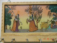 Gemstone Painting Wood Key Chain Wall Holder With 6 Hooks From India-lady W/Deer