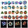 28pcs/Set Metal Dice for DND RPG MTG Game Dungeons & Dragons D4-D20 Colors