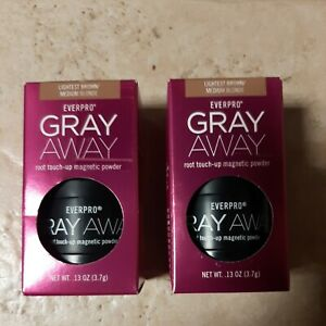 SET OF 2- EVERPRO GRAY AWAY ROOT TOUCH-UP MAGNETIC POWDER LIGHTEST BROWN, NIB