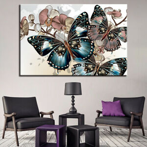Abstract Butterfly Forest Canvas Print Painting Framed Home Decor Wall Art 5Pcs