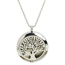 NEW Sliver Tree Of Life Diffuser Essential Oil Perfume Locket Pendant Necklace
