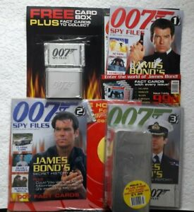 007 Spy Files James Bond Magazine Issues 1 2 & 3 with cards tins and holder