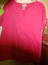 Coldwater Creek Ladies Pink XL Short Sleeve Top Shirt Blouse Cotton