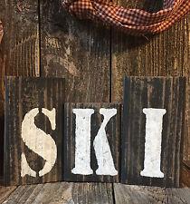 SKI Sign Cabin Sports Bar Pub Mt. Lodge Lake Rustic Country Home Shelf Blocks