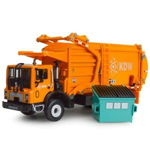 1:24 Scale Diecast Recycling Garbage Truck Model Toy Car with Bin Christmas Gift