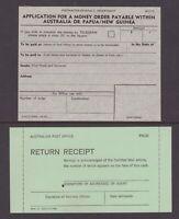 Australia 2 postal items circa 1965 Money Order application and Return Receipt