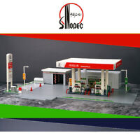 1:64 Scale SINOPEC Gas Station Model DIY Building Kit Scenery Fit for Car Models
