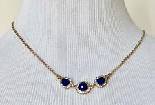 """Crystal Gold-Tone Chain Necklace 18"""" Long Nwt Stella + Ruby Triple Blue Stone"""