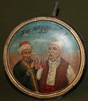 Vintage hand painted folk art wine brandy wine wood keg