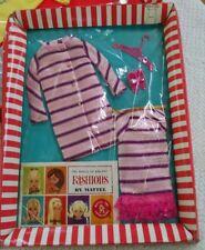 Barbie Doll #1843 Dancing Stripes Dress Coat Shoes Vtg 1968 Mint in Box e66