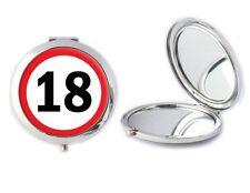 18 Cartello Stradale specchio compatto ideale Donna 18th Compleanno Mamme Giorno Regalo T61
