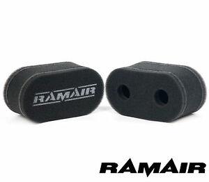 2 x RAMAIR Foam Carb Sock Air Filters Double Trumpet Weber DCOE Fitment Jenvey