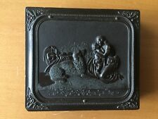 RARE GUTTA PERCHA DAG: Mother Embracing Child Thermoplastic Case Sixth Plate