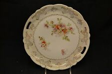 Bavaria Lusterware Two Handled Cake Plate Roses Marked Austria Butterfly