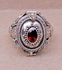 Handmade Sterling Silver Garnet Poison or Keepsake or Cremation Ring Sz 6-7-8