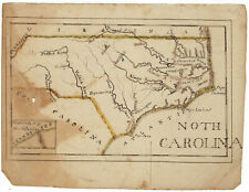 North Carolina - Small, Early 19th-Century, Hand-Drawn Map