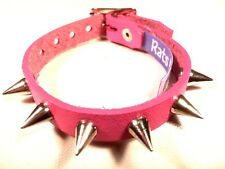PINK Leather Small Spike Stud bracelet wristband wrist cuff Steam punk RATS BUM