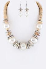 Fashion Pendant Chain White Gold Big Pearl Chunky Choker Statement Bib Necklace