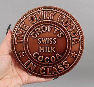 RARE Antique Crofts Swiss Hot Cocoa Pottery Tile Trivet Advertisement Sign NR