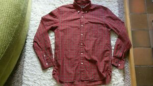 Men's Size M By Beams Made In Japan Red & Green L/S Checked Shirt Immaculate