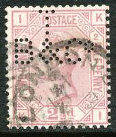 "GB 1875 QV 2 1/2 D rosy mauve white paper Pl.2 ('KI' - PERFIN ""T B & Co"") LONDON"