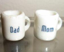 Miniature Collectible Mom Dad Ceramic Mug Charm Doll House Display Figurine 2 Pc