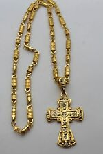 Men Gold Necklace Metal Long Chain Fashion Jewelry Bling Cross Pendant Hot Charm