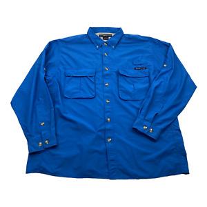 ExOfficio Mens Hiking Fishing Long Sleeve Botton Down Shirt Blue Size XL