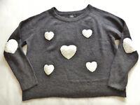 kurzer weicher ONLY Pullover Gr. L/XL  grau weiße Herzen