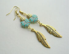 Long Turquoise Czech Glass and Gold Plate LEAF Dangle EARRINGS   KCJ2586