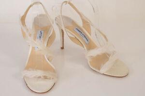 Jimmy Choo white 10 40 satin feather trim strappy slingback sandal shoe NEW $875